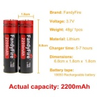 FandyFire Rechargeable Lithium-ion 3.7V 2200mAh Battery - Black