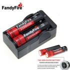 FandyFire Rechargeable Lithium-ion 3.7V 2200mAh Batteries - Black
