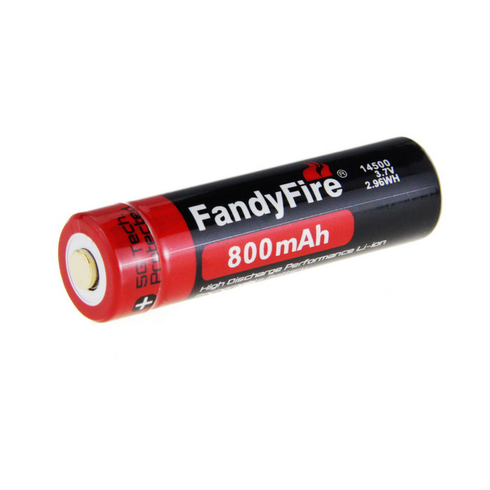 FandyFire Rechargeable Lithium-ion 3.7V 800mAh 14500 Battery - Black