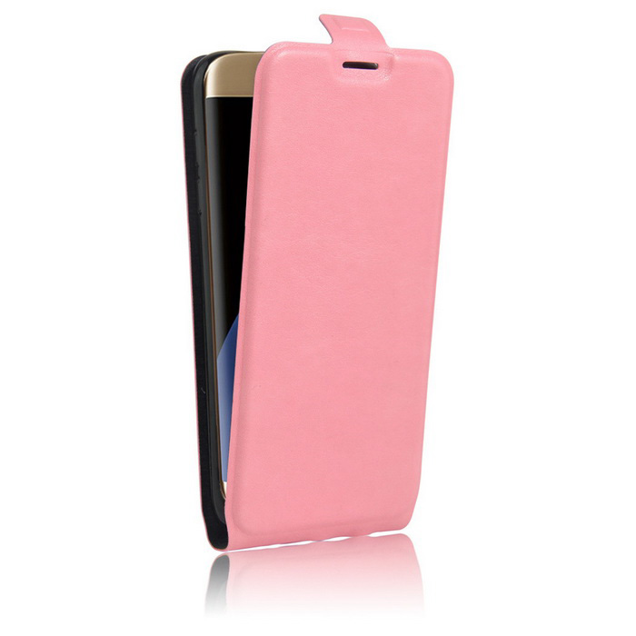 Up-Down Flip Open Protective PU Case for Samsung S7 EDGE - Pink