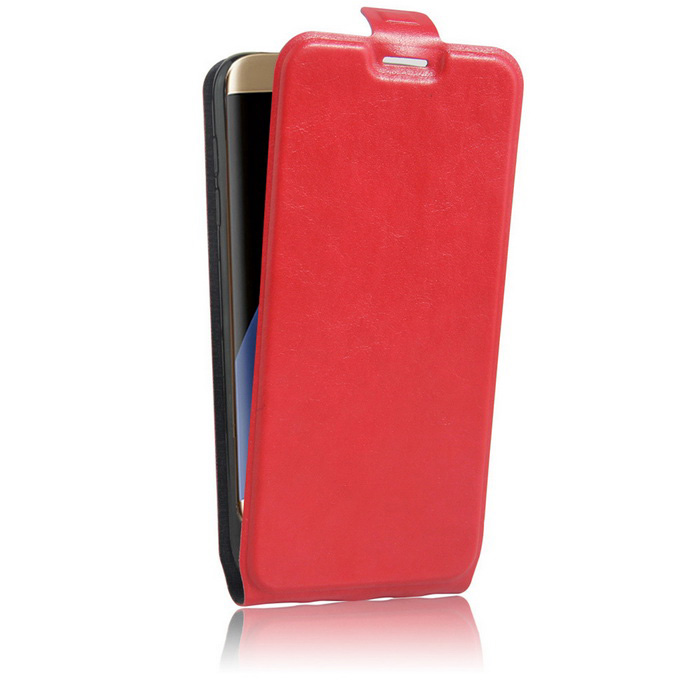 Up-Down Flip Open Protective PU Case for Samsung S7 EDGE - Red