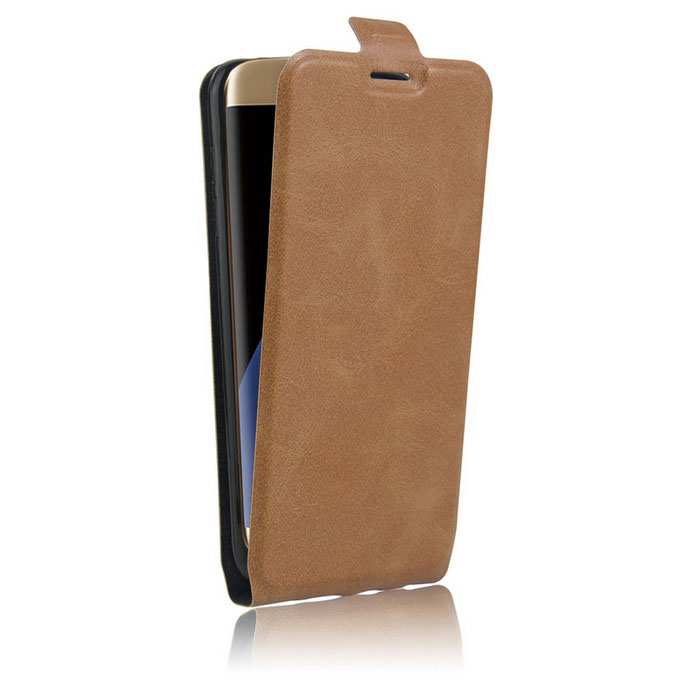 Up-Down Flip Open Protective PU Case for Samsung S7 EDGE - Brown