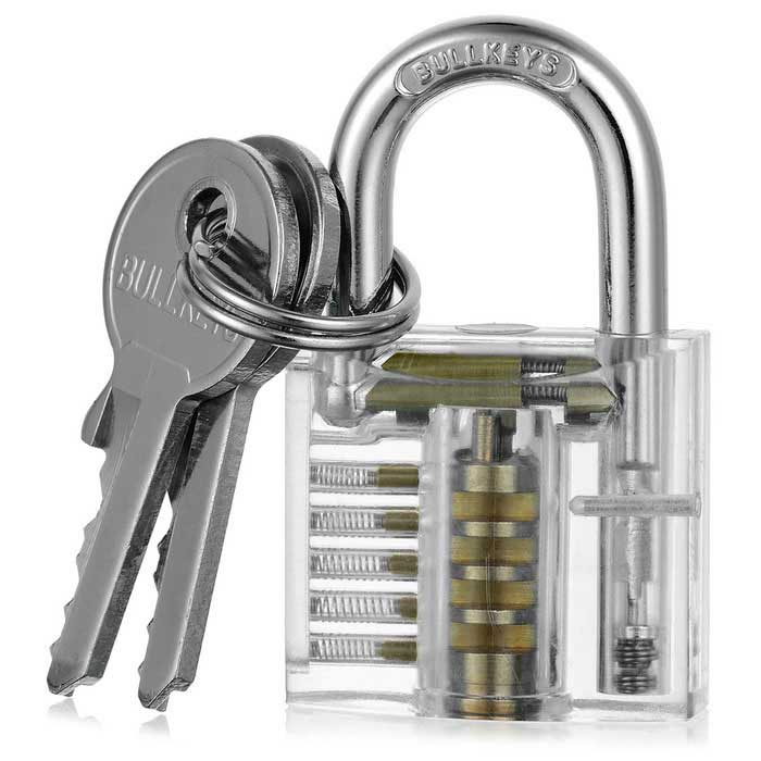 Mini Transparent Practice Padlock Lock Pick Locksmith Tools + KeysLocksmith Supplies<br>ModelN/AQuantity1 DX.PCM.Model.AttributeModel.UnitForm  ColorTransparentMaterialABS + Stainless SteelPacking List1 * Transparet padlock2 * Keys<br>