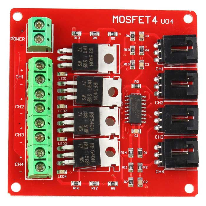Four Channel MOSFET Button IRF540 V2.0+ MOSFET Switch Module - RedBoards &amp; Shields<br>Form ColorRed + MulticoloredModelN/AQuantity1 DX.PCM.Model.AttributeModel.UnitMaterialFR4Download Link   N/AOther FeaturesA product for Arduino that works with official Arduino boards.Packing List1 * Module<br>