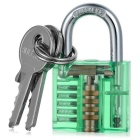 Mini Lock + 9-Lockpick Training Tool Set - Green + Blue