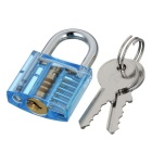 Mini Lock + 9-Lockpick Training Tool Set -Translucent Blue + Black