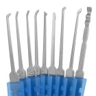 Mini Transparent Lock + 9-Lockpick Training Tool Set - Blue
