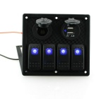 IZTOSS S8228 4- LED azul Indicadores Rocker Switch Panel - Preto