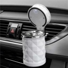 ZIQIAO Car Diamond Cutting Process LED Lighting Ashtray -  White