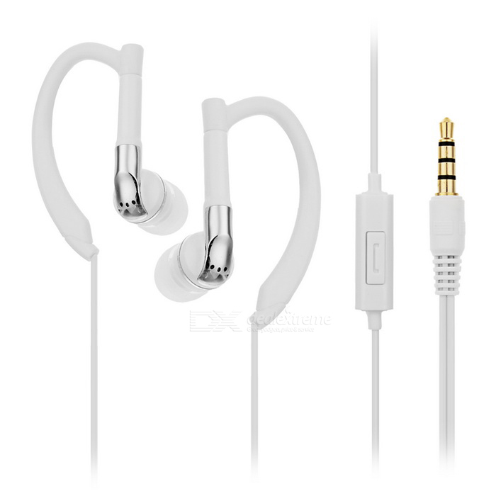D & S DSE6030 Stereo In-ear Ear-hook Sports Earphones w / Mic. - Branco
