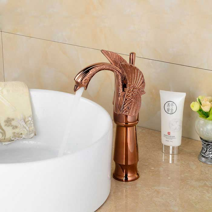 Contemporary Swan Shaped Bathroom Basin Faucet (Tall) - Rose Gold