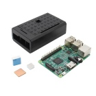 Raspberry Pi 3 Model B Board + Logo Version ABS Case + Heat Sink Kit