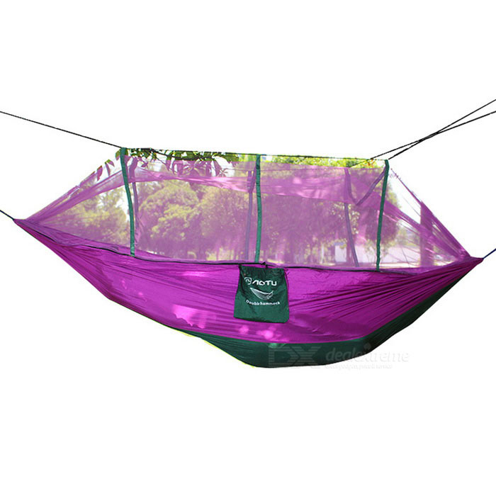AOTU AT6730 2-Person Parachute Nylon Tecido Hammock - roxo + verde