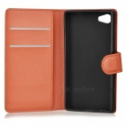 Litchi Grain PU Case w/ Stand for SONY Xperia Z5 Compact/Z5 Mi - Brown