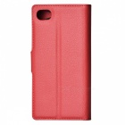 Litchi Grain PU Case w/ Stand for SONY Xperia Z5 Compact/Z5 Mi - Red