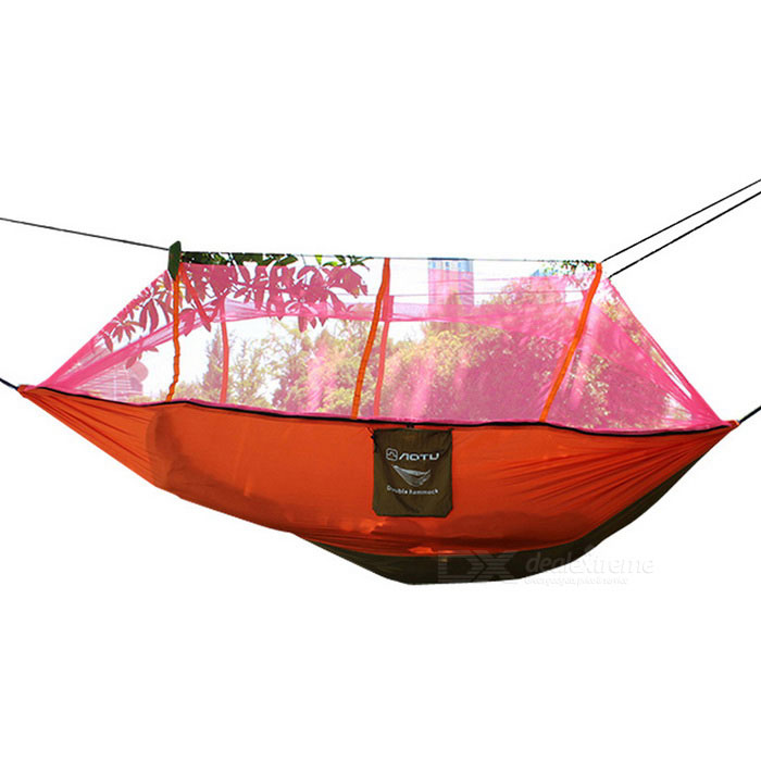AoTu AT6730 Dual Person Parachute Nylon Fabric Hammock - Orange + RedTent And Shelter<br>Form  ColorOrange + RedQuantity1 DX.PCM.Model.AttributeModel.UnitModelAT6730MaterialParachute yarn dyed fabricBest UseCamping,Travel,Others,outdoor restSeasons3 seasonsSleeping capacity2 personsNumber of doors1 doorRainfly Fabric210T wrinkle nylon taffeta + hexagon single-layer polyester mesh clothTent Body Fabric210T wrinkle nylon taffeta + hexagon single-layer polyester mesh clothPole Materialstainless steelPacking Size26*22*13cmOther FeaturesName: Mosquito Net double hammock; <br>Model: AT6730; <br>Specifications: 2.6m * 1.4m; <br>Material: 210T wrinkle nylon taffeta + hexagonal single-layer polyester mesh cloth;<br>Load: 200kg; <br>Weight: 820 grams.Packing List1 * AT6730 hammock (including nets) 2 * Stainless steel hooks2 * Special binding ropes2 * Net ropes<br>
