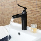 Buy Personalized Oil-rubbed Bronze Waterfall Bathroom Sink Faucet - Black