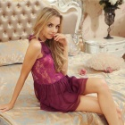 Woman's Fashionable Soft Deep V Sexy Lingerie Suit - Purple