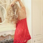 Woman's Fashionable Sexy Lace Lingerie Suit - Red