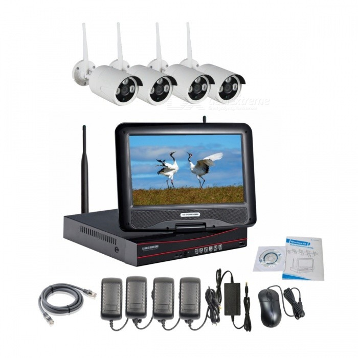 4CH wireless NVR w / 10.1Inch monitor LCD combo kits (eu plug)