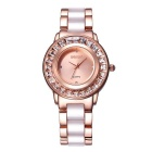 WeiQin Women's Diamond Bezel Alloy Shell Quartz Watch - Rose Gold