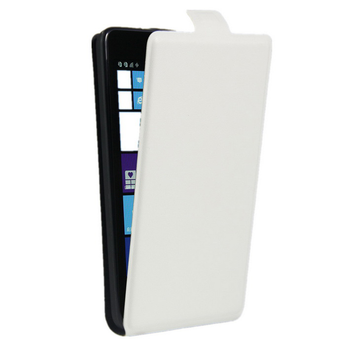 Up-Down Flip Open Protective PU Case for NOKIA lumia 535 - White