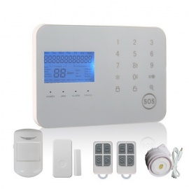 Touch Keypad GSM & PSTN Dual Network Alarm System - White (US Plugs)