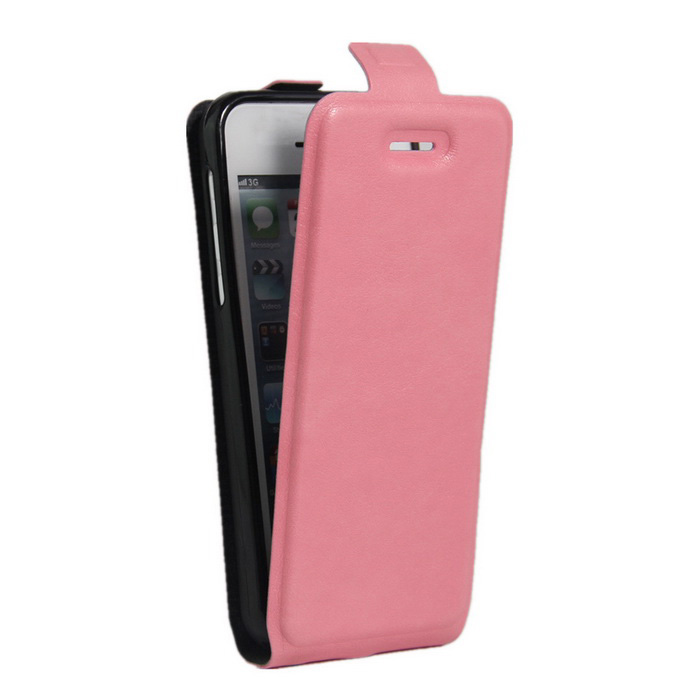 Up-Down Flip Open Protective PU Case for IPHONE SE - Pink