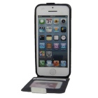 Up-Down Flip Open Protective PU Case for IPHONE SE - White