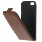 Up-Down Flip Open Protective PU Case for IPHONE SE - Brown