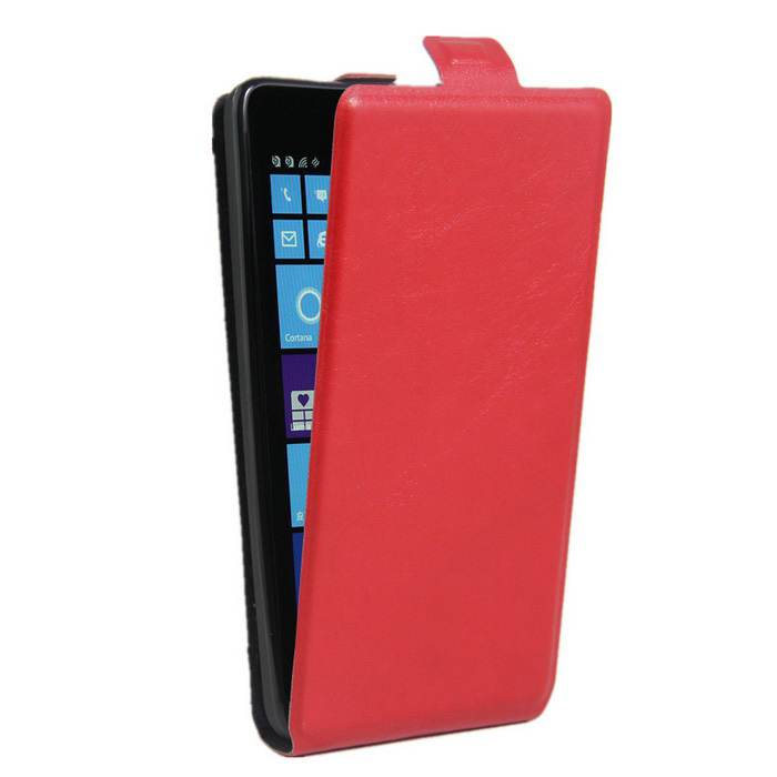 Up-Down Flip Open Protective PU Case for NOKIA lumia 535-Red