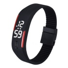 Unisex Lodestone PU Band LED Bracelet Wrist Watch - Black + Red