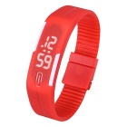 Unisex Lodestone PU Band LED Bracelet Wrist Watch - Red + White