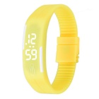 Unisex Lodestone PU Band LED Bracelet Wrist Watch - Yellow + White