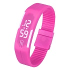 Unisex Lodestone PU Band LED Bracelet Wrist Watch - Deep Pink + White