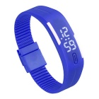 Unisex Lodestone PU Band LED Bracelet Wrist Watch - Deep Blue + White