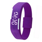 Unisex Lodestone PU Band LED Bracelet Wrist Watch - Purple