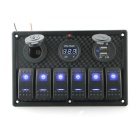 IZTOSS S8229 6- Blue LED индикаторы Rocker Switch Panel - черный
