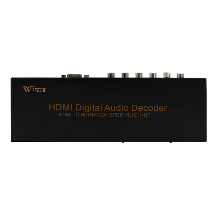 Wiistar WS_M004 HDMI to HDMI + VGA + SPDIF + 5.1CH + HP Audio DecoderOther Accessories<br>Form ColorBlackModelWS_M004Quantity1 DX.PCM.Model.AttributeModel.UnitMaterialaluminium alloyCertificationCE, FCCOther FeaturesHDMI resolution : up to 1080P/50/60fs3D 24/30fs<br>MHL input resolution:720P 60Hz/1080P 30Hz/1080P 60Hz (packedpixel mode)<br>VGA output resolution:up to 1920 x 1080@60Hz<br>Support video color format :24bit/deep color 30bit,36bit<br>HDMI Audio Format:DTS-HD/Dolby-TrueHD/LPCM 2/5.1/7.1CH/DTS/Dolby-AC3/DSD<br>Digital audio decode format:Dolby Digital (AC3)/DTS/LPCM 2CH<br>HDMI Max bandwidth:225MHz<br>HDMI Max baud rate:6.75Gbps<br>Input/Output TMDS signal :0.5~1.5Volts p-p(TTL)<br>Input/Output DDC signal :5Volts p-p (TTL)<br>DSP sample frequency range: 32 -96 KHz<br>DSP Bit rate range:16 -24 BitPacking List1 * Multi-function HDMI-VGA+5.11 * EU power adapter1 * English user manual<br>