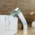 Modern Stylish Chrome Bathroom Glass Waterfall Basin Faucet - Silver