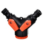 "1/2"" / 3/4"" Male Thread Two-way Tap Adaptor Fittings - Orange + Black"