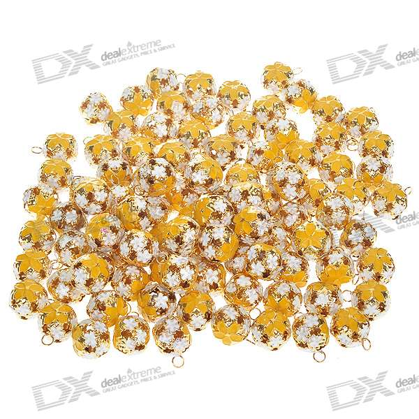 Decorative 18mm Metal Carving Spherical Bells with Loops - Yellow + White + Golden (100-Piece Pack)