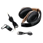 Foldable Head-mounted Multi-media Bluetooth Headset - Black + Golden