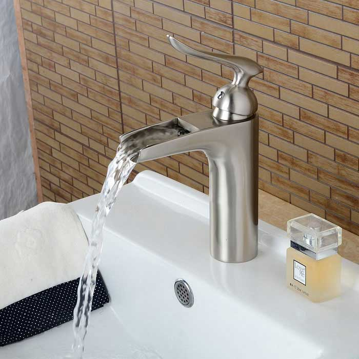 Nickel brushed personalized waterfall bathroom sink faucet silver free shipping dealextreme for Discount bathroom faucets brushed nickel