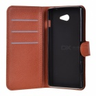 Lichee Pattern Protective Case for Sony Xperia M2 AQUA - Brown