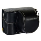 Stilig Crazy Horse Leather Camera Case for Sony A5100 / 5000 - Sort