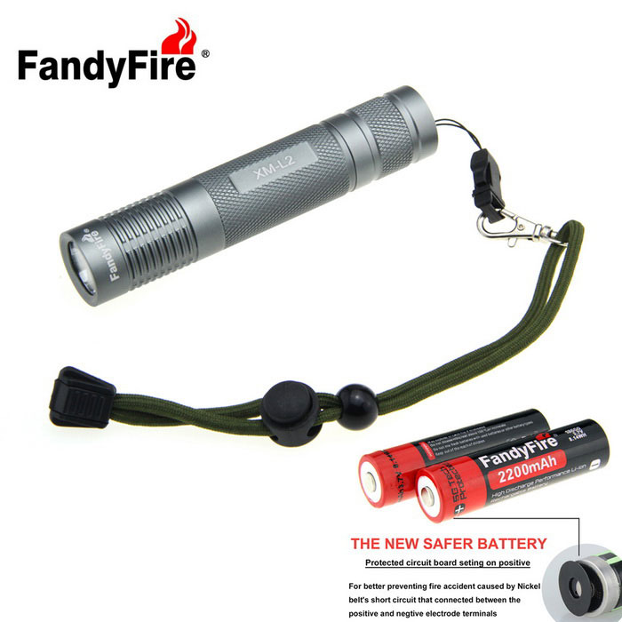 FandyFire 988lm 5-Mode Aluminum Smooth Tactical Flashlight Kit - Grey