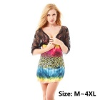 Fashion Print Pattern Lace Kurzarm Deep V-Neck Kleid Rock Nightgown mit String - Schwarz (L)