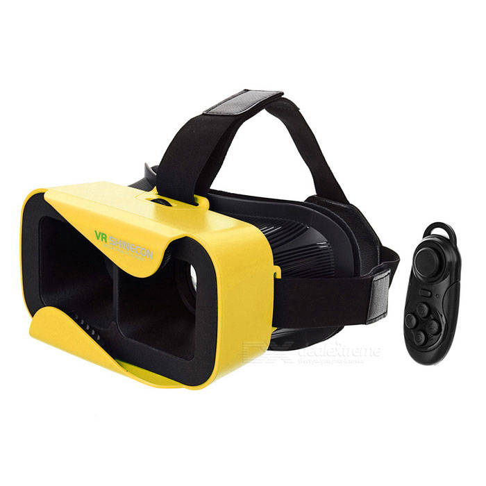 SHINECON Virtual Reality 3D Glasses + Bluetooth Console - Yellow