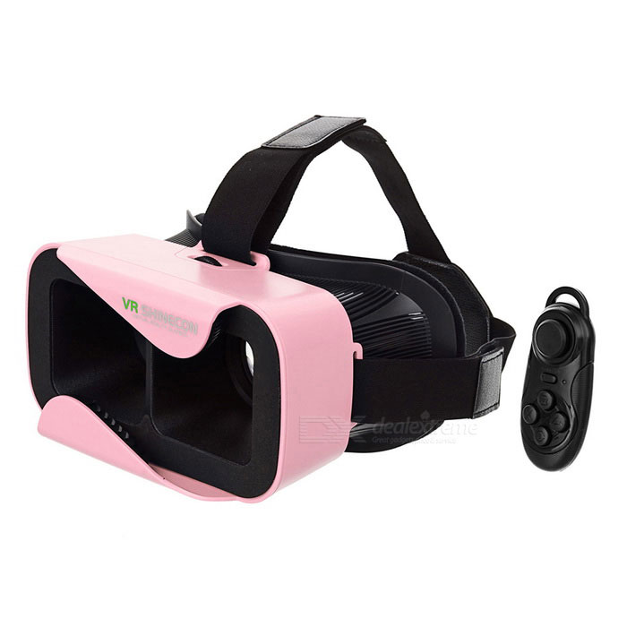 SHINECON Virtual Reality 3D Glasses + Bluetooth Console - Pink + Black